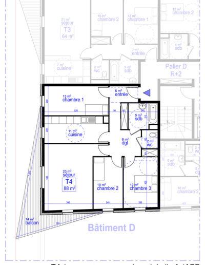 Plan Appartement de type 4