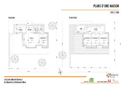 Plan d'une maison bioclimatique