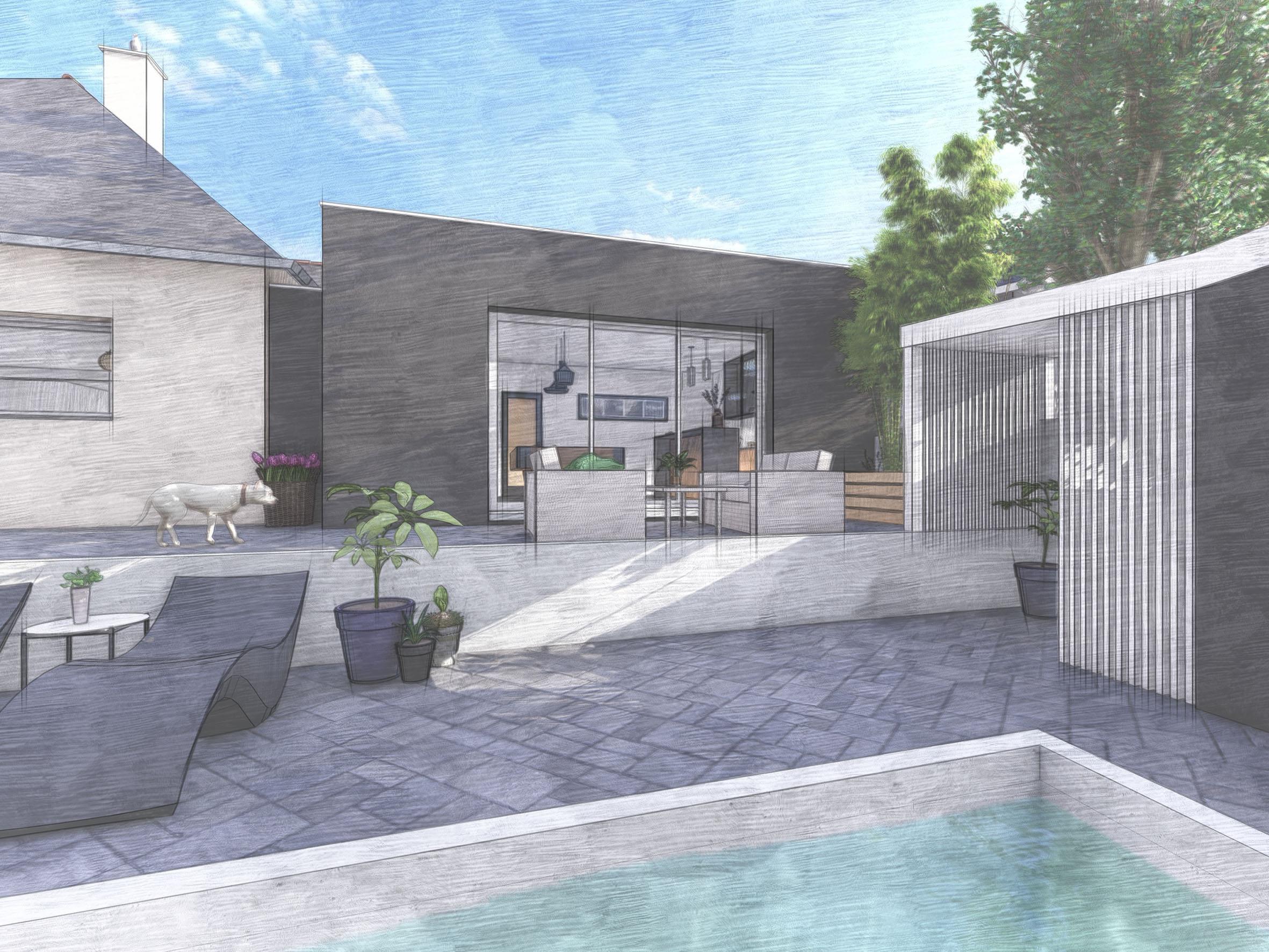 Extension, terrasse et piscine côté jardin